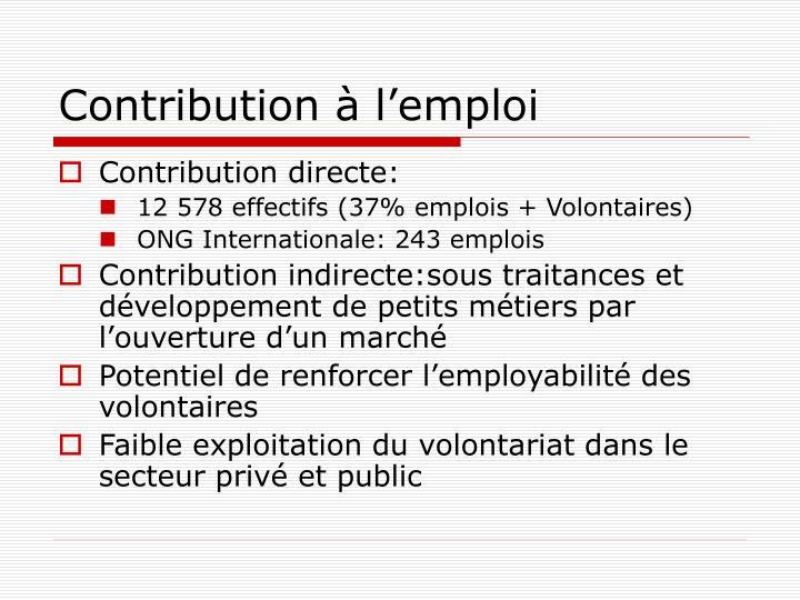 Contribution à l'emploi