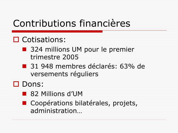 Contributions financières