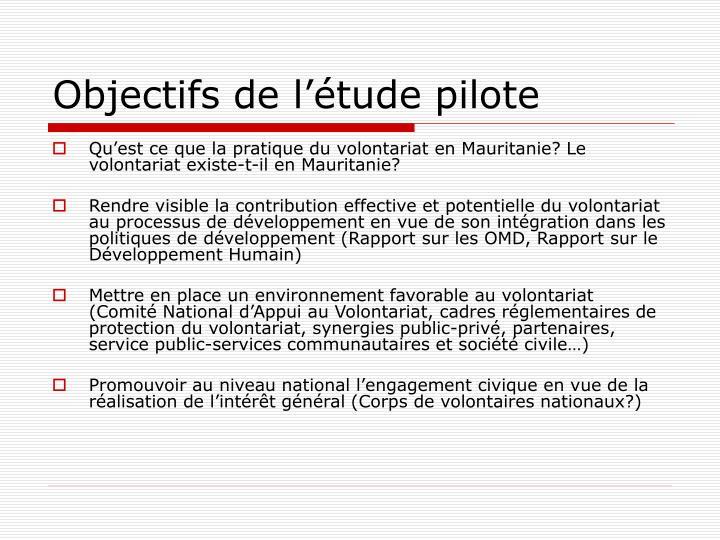 Objectifs de l'étude pilote