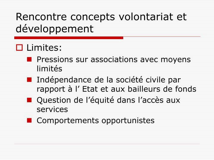 Rencontre concepts volontariat et développement