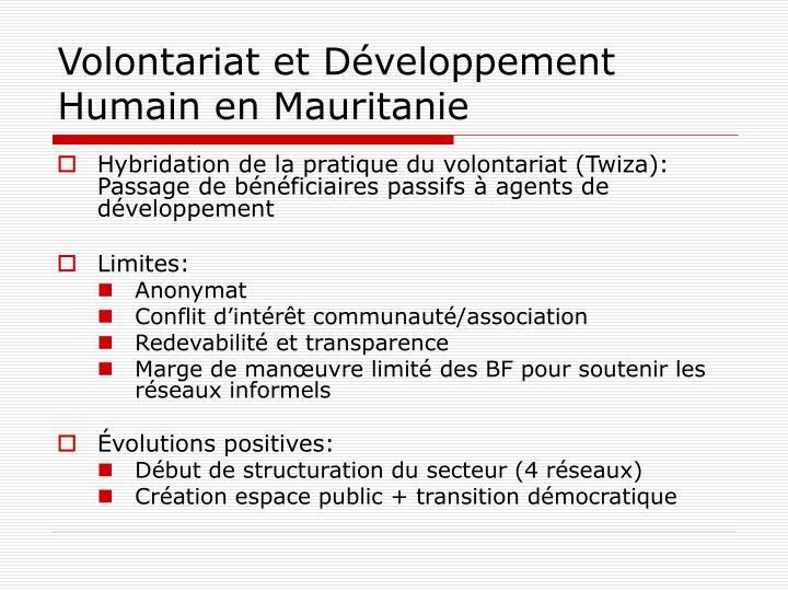 Volontariat et Développement Humain en Mauritanie