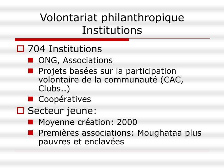 Volontariat philanthropique Institutions