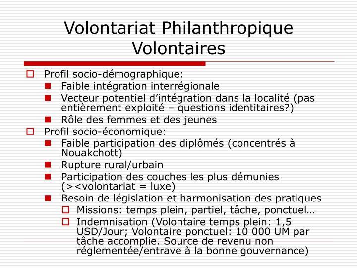 Volontariat Philanthropique Volontaires