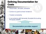 defining documentation for costs