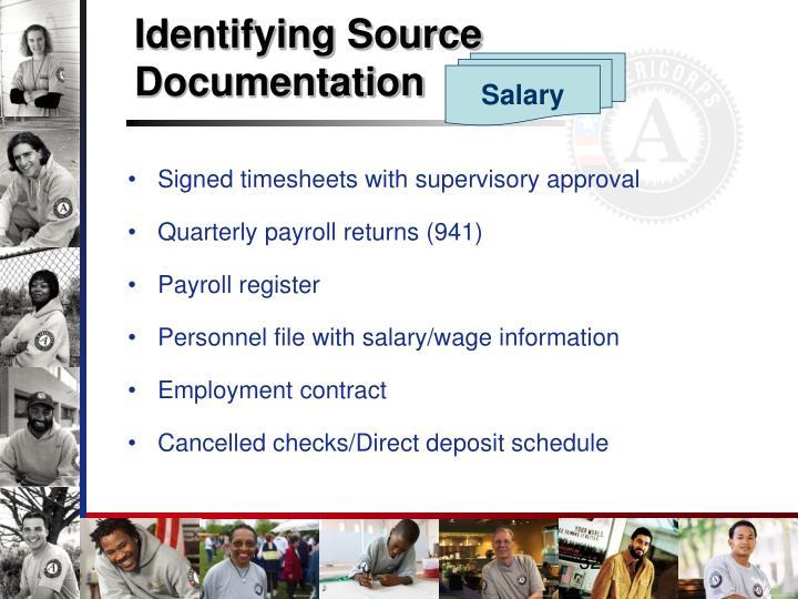 Identifying Source Documentation