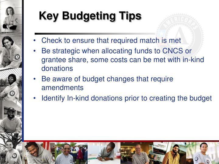 Key Budgeting Tips