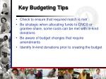key budgeting tips
