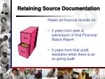 retaining source documentation