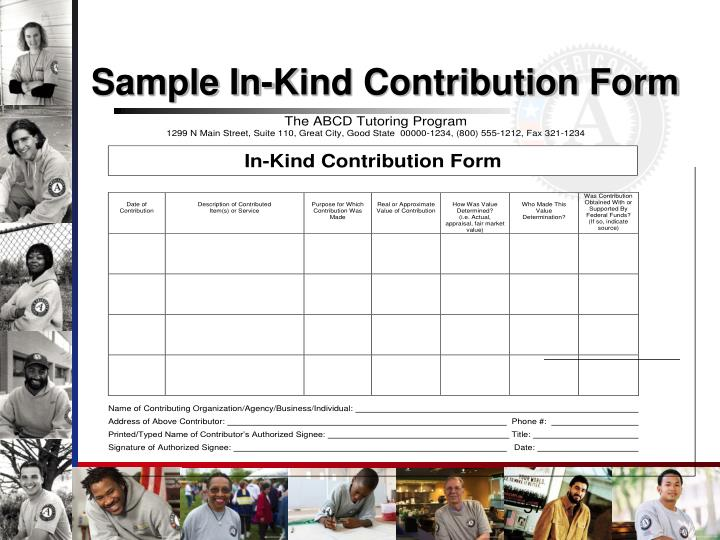 Sample In-Kind Contribution Form