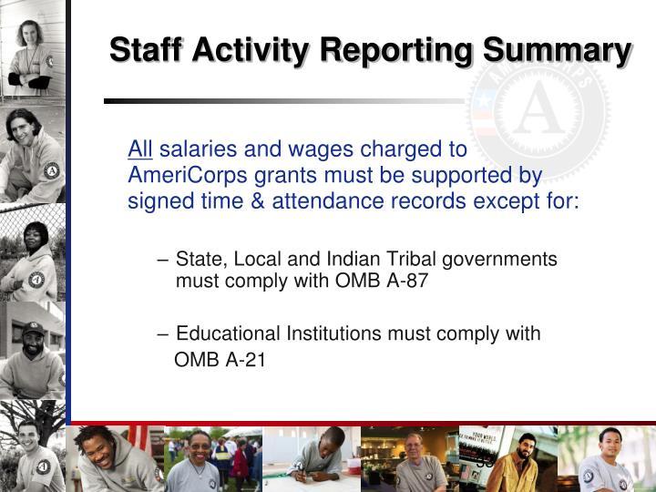 Staff Activity Reporting Summary