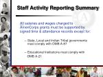staff activity reporting summary