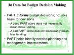 b data for budget decision making