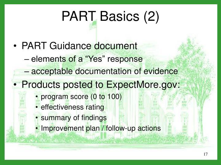PART Guidance document