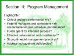 section iii program management