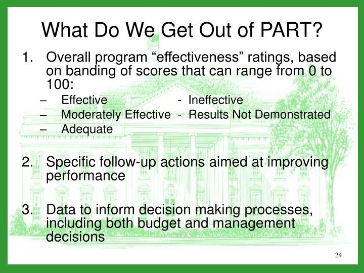 """Overall program """"effectiveness"""" ratings, based on banding of scores that can range from 0 to 100:"""