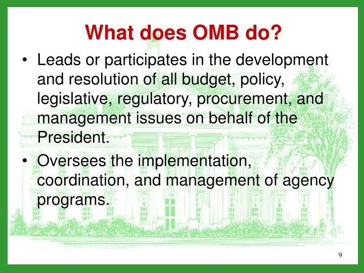 Leads or participates in the development and resolution of all budget, policy, legislative, regulatory, procurement, and management issues on behalf of the President.