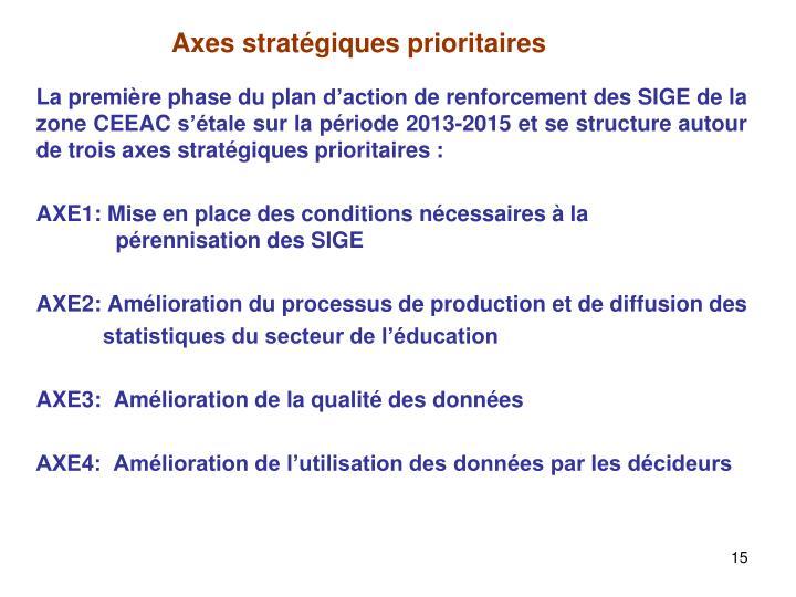 La première phase du plan d'action de renforcement des SIGE de la zone CEEAC s'étale sur la période 2013-2015 et se structure autour de trois axes stratégiques prioritaires :