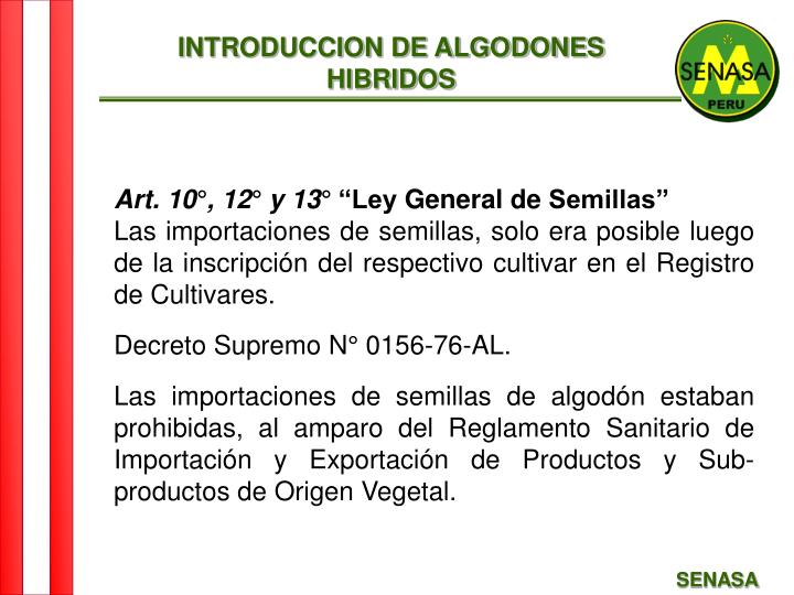 INTRODUCCION DE ALGODONES