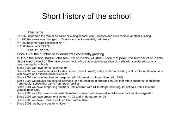 Short history of the school