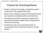 criteria for granting waiver