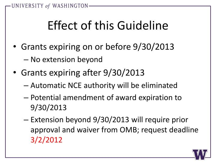 Effect of this guideline