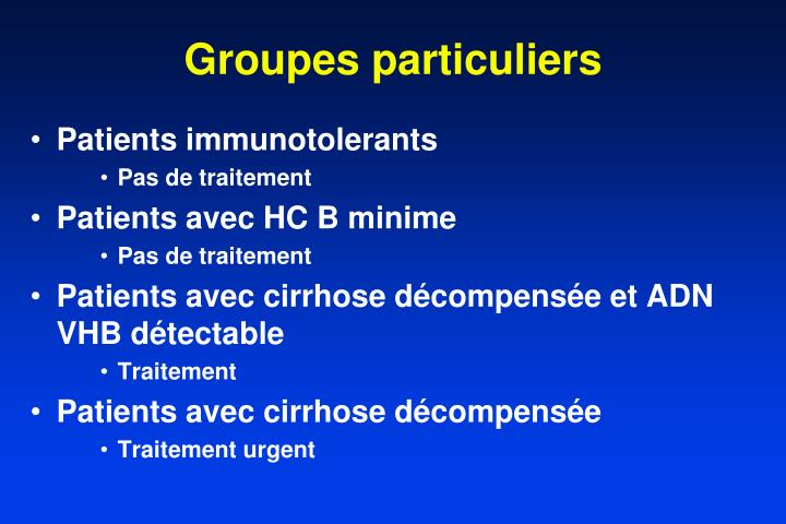 Groupes particuliers