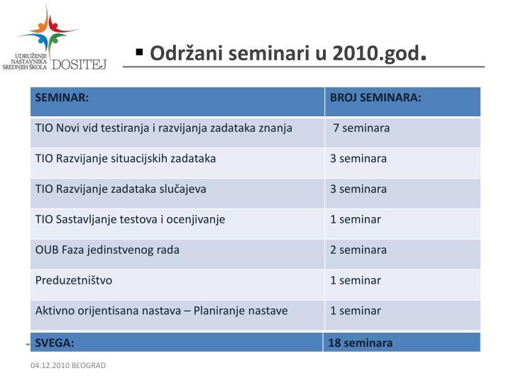 Održani seminari u 2010.god