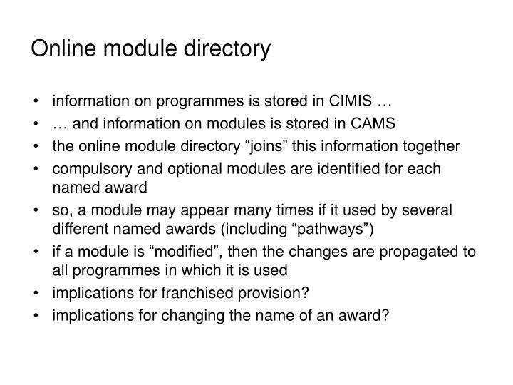 Online module directory