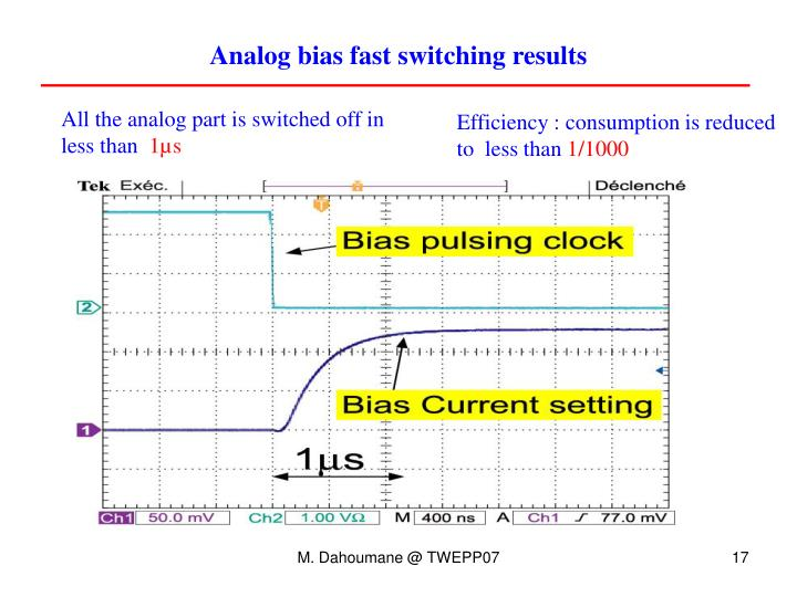 Analog bias fast switching results