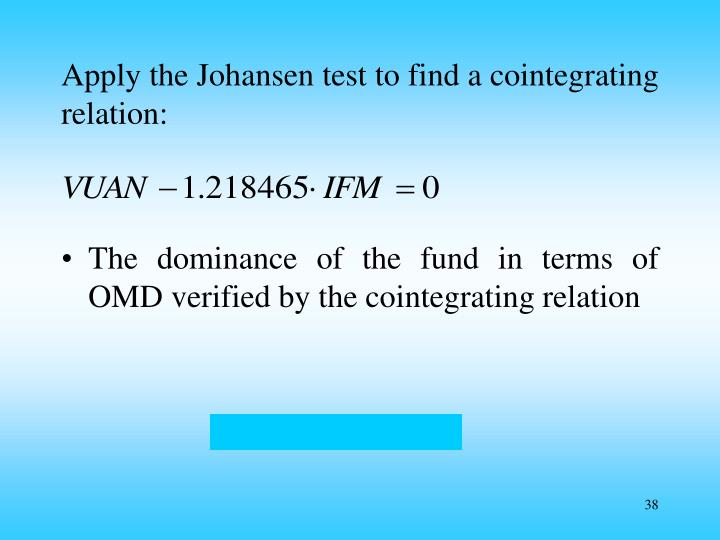 Apply the Johansen test to find a cointegrating relation: