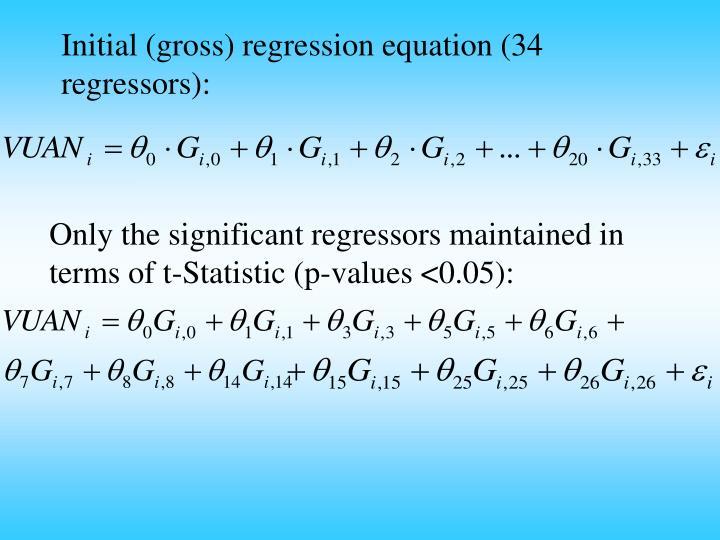 Initial (gross) regression equation (34 regressors):
