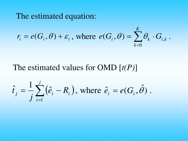 The estimated equation: