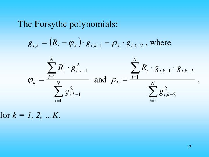 The Forsythe polynomials: