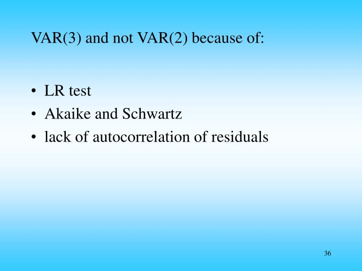 VAR(3) and not VAR(2) because of: