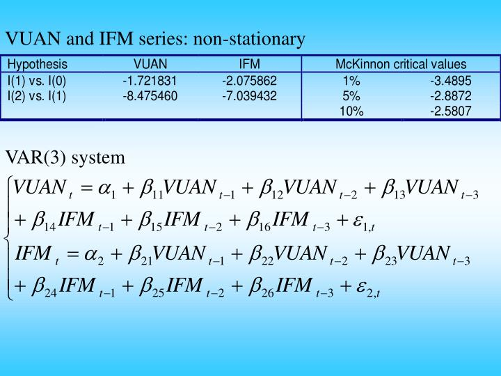 VUAN and IFM series: non-stationary