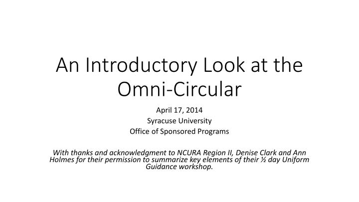an introductory look at the omni circular