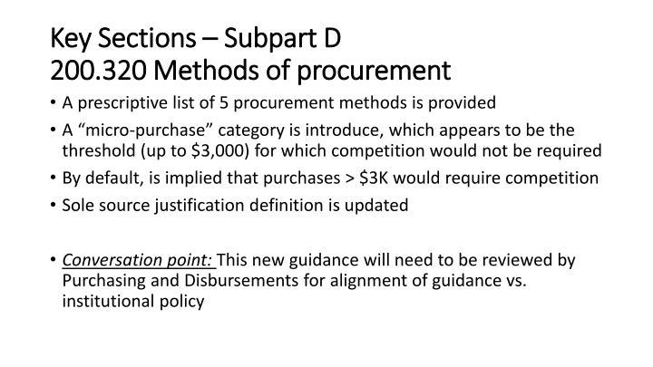 Key Sections – Subpart D