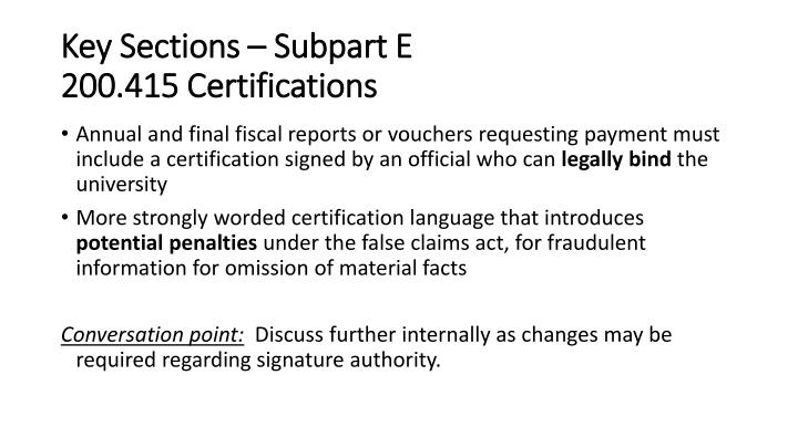 Key Sections – Subpart E