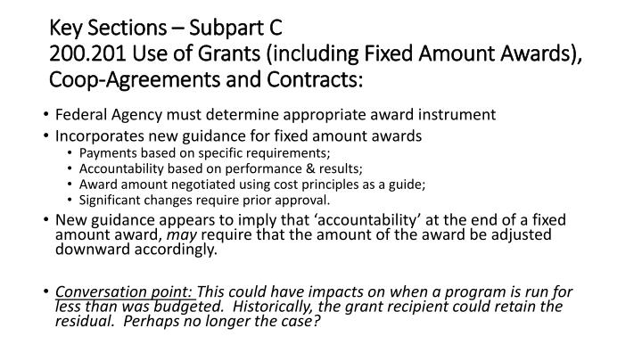 Key Sections – Subpart C