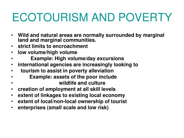 ECOTOURISM AND POVERTY