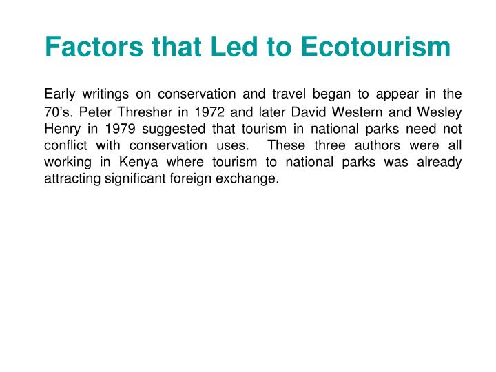 Factors that Led to Ecotourism