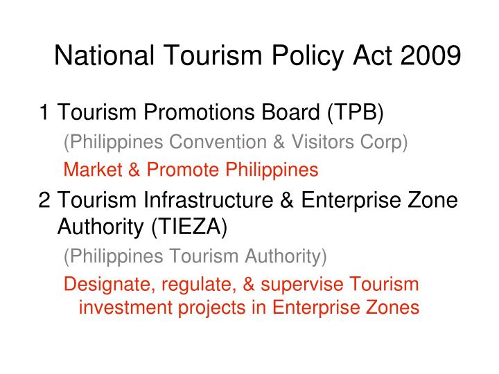 National Tourism Policy Act 2009