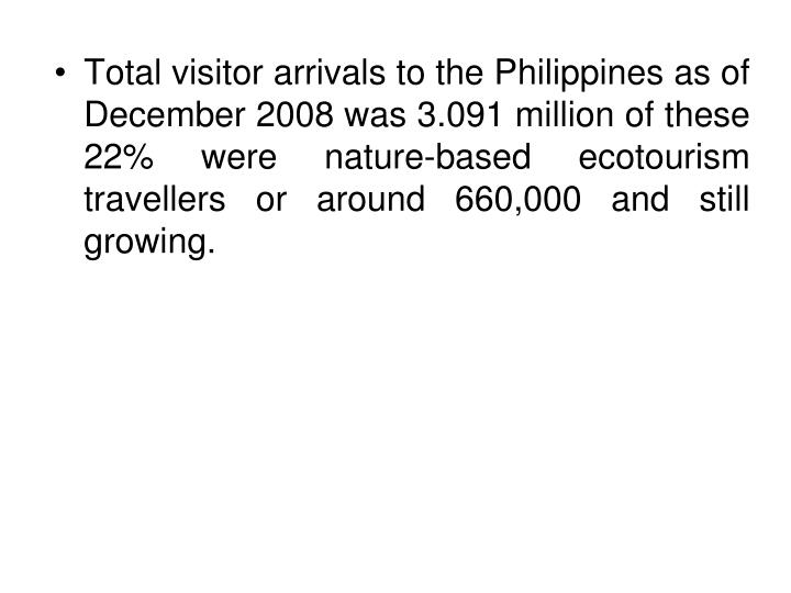 Total visitor arrivals to the Philippines as of December 2008 was 3.091 million of these 22% were nature-based ecotourism travellers or around 660,000 and still growing.