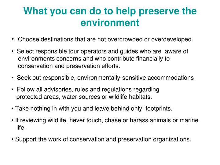 What you can do to help preserve the environment