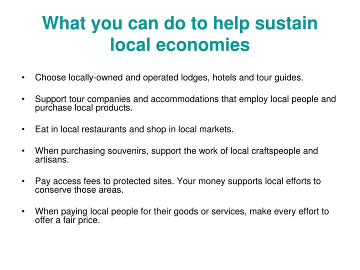 What you can do to help sustain local economies