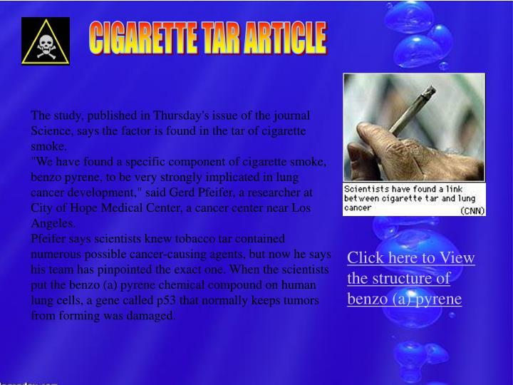 CIGARETTE TAR ARTICLE