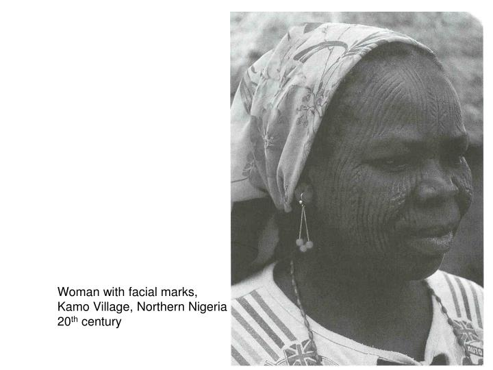 Woman with facial marks,