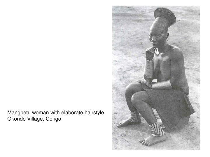 Mangbetu woman with elaborate hairstyle,