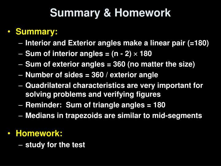 Summary & Homework