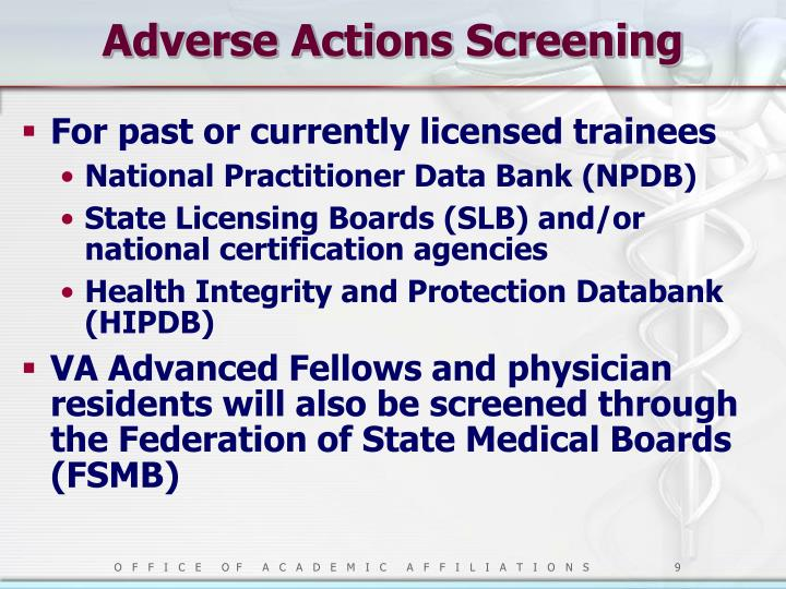 Adverse Actions Screening